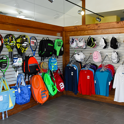 Merchandise display on Pro Shop wall
