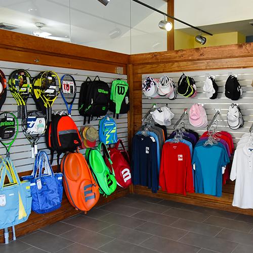 Merchandise display on Pro Shop wall